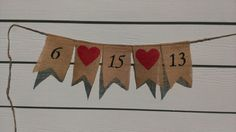 rustic wedding burlap banner save the date by RedHeartCreations, $22.00