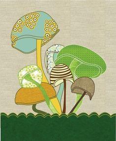 Woodland Nursery Mushroom Print Art Poster by ParadaCreations, $19.00