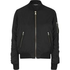TopShop ma1 Zip Bomber Jacket (5.825 RUB) ❤ liked on Polyvore featuring outerwear, jackets, topshop, bomber jacket, coats & jackets, black, zip jacket, topshop jacket, flight jacket and zip bomber jacket