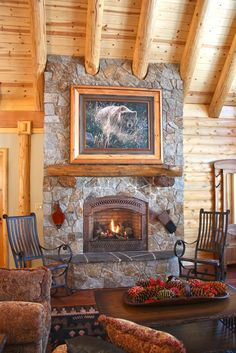 ♥ Fireplace of Rustic Cabin, Cottage or Lodge ♥ Note the flagstone