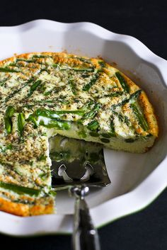 Asparagus and Feta Cheese Crustless Quiche…An easy and healthy vegetarian quiche for springtime! 108 calories and 3 Weight Watcher SmartPoints -