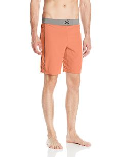 Manduka Men's Soul Surfer Shorts, Canyon, Medium. 8.5 inch inseam. Blue sign Certified. Contoured waistband ensures shorts stay on the hips. Hand pockets with ventilating pocket bags. Poly 86%/Spandex 14% Flat back pocket with drainage hole.