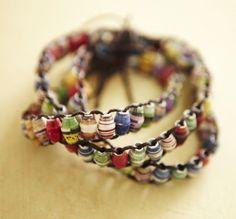 Paper Bead Wrap Bracelet. DIY maybe?