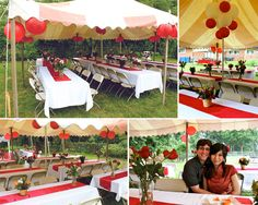 How To Decorate A Wedding Reception Tent | tent decorations and place settings from our casual wedding reception ...