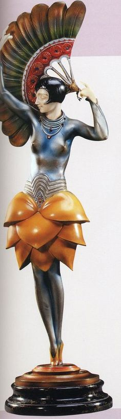 Paul Phillipe 'Fan Dancer' a silvered and cold-painted bronze and ivory figure - circa 1925.