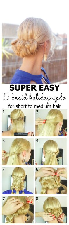 Easy 5 braid holiday updo for short to medium hair tutorial Medium Short Hair, Medium Hair Cuts, Medium Hair Styles, Long Hair Styles, Work Hairstyles, Pretty Hairstyles, Braided Hairstyles, Easy Hairstyle, Easy Braided Updo