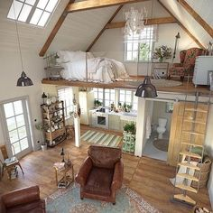 Here are 40 of our best picks for most beautiful loft living spaces! Read what is a loft apartment and loft style. Get ideas for your loft homes. Sweet Home, Tiny House Living, Bus Living, Living Room, Cottage House, Rustic Cottage, Tiny Spaces, Bedroom Loft, Attic Loft