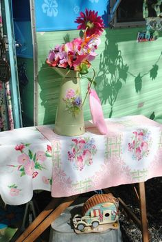 An ironing board for a table and country decor
