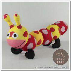 Handmade Dots Print Sock Monkey Caterpillar Stuffed Animals Baby Toys | eBay
