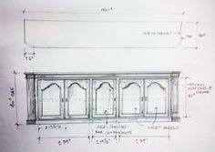 Shop drawing for country French style console we built for Kathie Grealish.