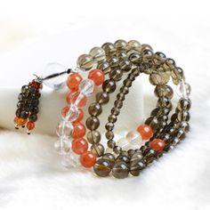 Free Shipping Multi-Strand 8mm Smoky Quartz Agate Beads Tassels Pendant Stretch Elastic Handmade Bracelets GSB-J003