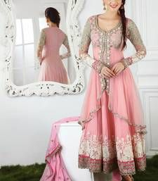 Pink embroidered semi stitched anarkali