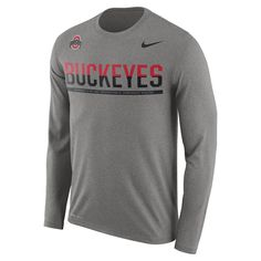 Nike College Legend Staff Sideline (Ohio State) Men's Long Sleeve T-Shirt  Size