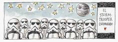 Storm trooper in love haha liniers Humor Grafico, Storyboard, Comic Strips, Illustration, Peanuts Comics, Digital Art, Star Wars, Cartoon, Stars
