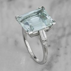 Emerald Cut Aquamarine Engagement Ring - Art Deco | Victor Barbone