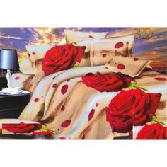 Posteľné obliečky béžovej farby s motívom červených ruží