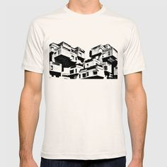 Habitat 67 - Modern Architecture T-shirt. Habitat 67 is a model community and housing complex in Montreal, Canada, by Moshe Safdie. Built as a pavilion for Expo 67, the World's Fair held from April to October 1967. Love modern architecture? Check out our Society6 shop for more products https://society6.com/archudesign