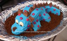 Homemade Dinosaur Stegaceratops Cake: As with other dinosaur cakes, two 9in round cakes were used. One cut in half and frosted together for the body. The second cake I made up a template and