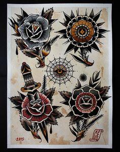 flowers tattoo flash | Tumblr