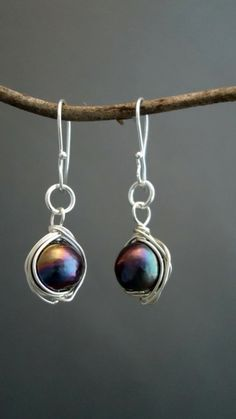 Black pearls wrapped in sterling silver by iseadesigns on Etsy, $27.95