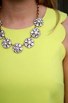 Limeade - Bows & Depos; crystal statement necklace, scalloped sleeve citron tank top