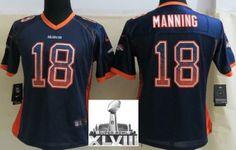 Women Nike Denver Broncos 18 Peyton Manning Blue Elite Drift Fashion 2014 Super Bowl XLVIII NFL Jerseys