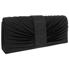 Capelli New York Pleated Satin Clutch With Rhinestone Center $14.99