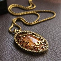 $4.09 Sweet Fashion Style Amber Oval Shape Pendant Design Necklace For Women