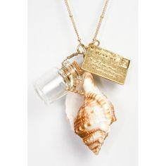 Sea Shell Necklace - a postcard, a shell and a bottle of white sand......