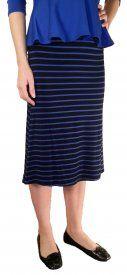 Striped Rayon Skirt - Royal/Black - $19 at DCM Apparel