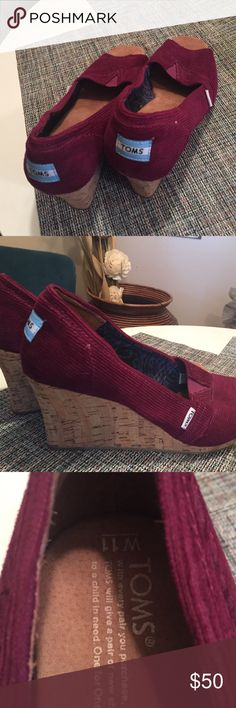 Toms classic wedge in Cranberry Corduroy This is a unique  Woman's 11 shoe. A beautiful cranberry , corduroy wedge in my favorite style! They just are not my size  TOMS Shoes Wedges