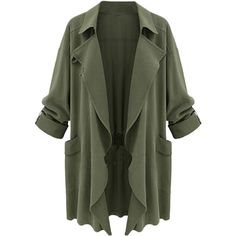 Blackfive Solid Tone Open Front Loose Duster Coat ($29) ❤ liked on Polyvore featuring outerwear, coats, jackets, blackfive, long green coat, long duster coat, green coat, open front coat and long coat