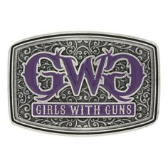 Montana Silversmiths Girls with Guns Royal Filigree Attitude Buckle ~ In this medium sized, antiqued silver tone curved rectangular buckle, the Girls with Guns trademark name is spelled out in a softly styled script in silver tone lettering, filled with a deep purple paint continuing the feminine feel of the buckle with the edgy dark silver coloring of the western fil