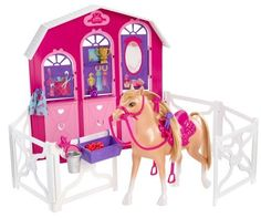 Barbie and Her Sisters in a Pony Tale Stable Playset (746775242855) Inspired by the new Barbie Movie, Barbie & Her Sisters in A Pony Tale Girls can recreate their favorite scenes from the new Barbie movie Open up the fencing to create a corral and let the horses watch as another competes Includes stable with corral and 1 horse Collect all of your favorite Barbie in A Pony Tale animals for more stable fun