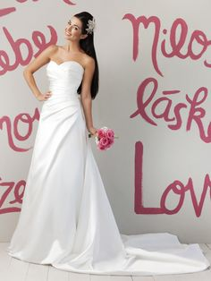 Sweetheart A-line Satin Summer Wedding Dress Asymmetrical Pleated
