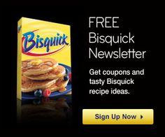 Cherry Swirl Coffee Cake, Sausage Cheese Balls, and Fried Chicken sounds good to me!  Sign up for FREE Bisquick Recipes, Samples, Coupons, and More!