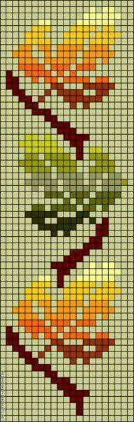Autumn leaves perler bead pattern but can use as crochet Bead Loom Patterns, Peyote Patterns, Beading Patterns, Cross Stitch Bookmarks, Cross Stitch Charts, Cross Stitch Patterns, Knitting Charts, Knitting Stitches, Cross Stitching