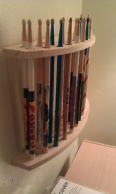 Drum Stick Display, Drumstick Holder , Hold 13 pair, Custom Made New, Solid Wood