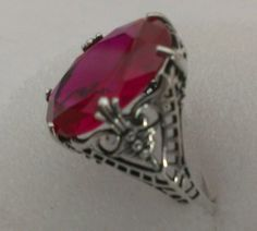 925 sterling silver Victorian era Ruby ring 12 carats size 7