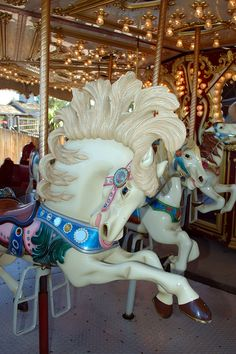 """Carousel Animals in Denver, Colorado / """"Mane"""" by Paul L. Carrousel, All The Pretty Horses, Beautiful Horses, Carosel Horse, Amusement Park Rides, Carnival Rides, Wooden Horse, Painted Pony, Merry Go Round"""