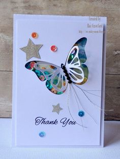 butterflies and stars! Homemade Birthday Cards, Kids Birthday Cards, Homemade Cards, Beautiful Birthday Cards, Karten Diy, Shaker Cards, Butterfly Cards, Card Tags, Creative Cards