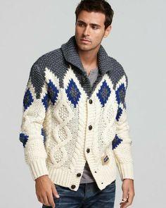 Men's hand knit buttoned cardigan – Hand Knitting Mens Knit Sweater, Hand Knitted Sweaters, Knit Cardigan, Handgestrickte Pullover, Pulls, Well Dressed, Hand Knitting, Knitting Patterns, Knitwear