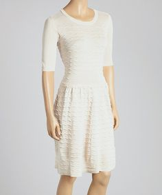 Love this Gabby Skye Cream Zigzag-Seam Scoop Neck Dress by Gabby Skye on #zulily! #zulilyfinds