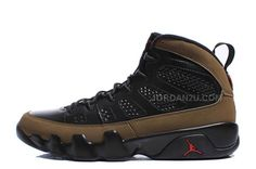 air jordan 9 retro black\/light olive\/true red sox