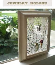 DIY lace jewelry holder, this would be a good use for some of Dad's tatted doilies. Jewellery Storage, Jewellery Display, Jewelry Organization, Earring Storage, Earring Display, Diy Lace Jewelry Holder, Jewellery Holder, Earing Holder, Jewelry Hanger