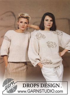 DROPS jumper with rose pattern in Knitting Patterns Free, Free Knitting, Free Pattern, Crochet Patterns, Crochet Girls, Knit Crochet, Girls Sweaters, Sweaters For Women, Magazine Drops