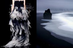 Match #139 Yiqing Yin Haute Couture Fall 2012 | The black coast of Vik during heavy rainfall in Iceland by Stefan Forster More matches here