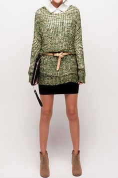 . give shape to a lose sweater with a belt .