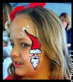 Quicky santa cheek art Face Painting Images, Face Painting Designs, Body Painting, Christmas Face Painting, Cheek Art, Christmas Makeup Look, Face Design, Fantasy Makeup, Costume Makeup