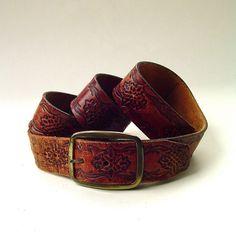 70s vintage Boho Rustic Hand Tooled Brown by SkinnyandBernie, $48.00